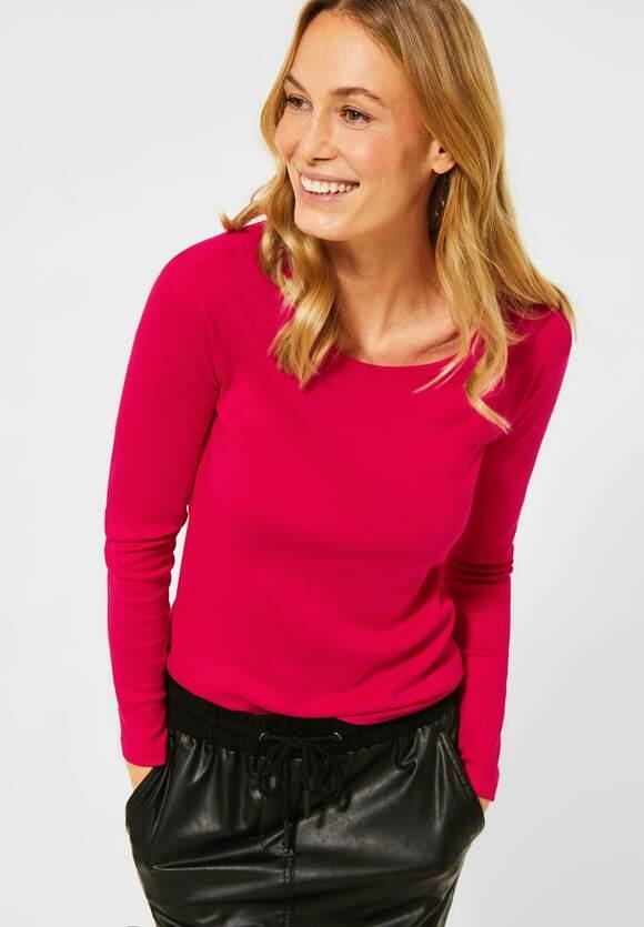 "Cecil | Basic Langarmshirt ""Pia"" | Farbe: hibiscus red 12737, 315349"