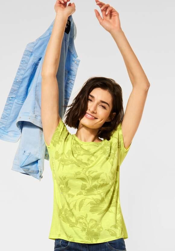 Cecil   T-Shirt mit Blumen Print   Farbe: sunny lime 33035, 316242