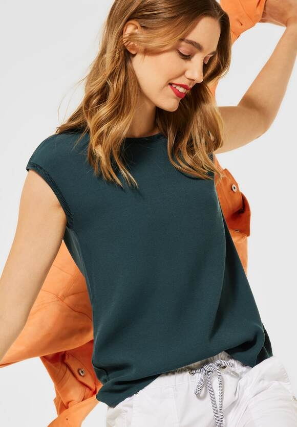 Street One | T-Shirt im Materialmix | Farbe: spruce green 13102, 316378