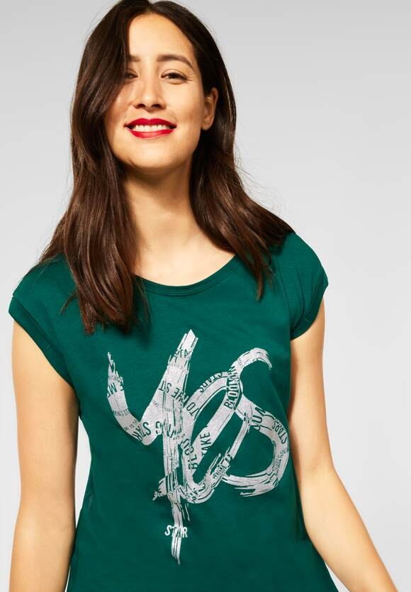 Street One   T-Shirt mit Schimmer Print   Farbe: ivy green 23167, 316681