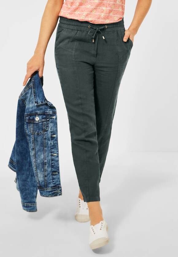 """Cecil   Loose Fit Hose """"Chelsea"""" mit Leinen   Farbe: slate green 11687, 373850"""