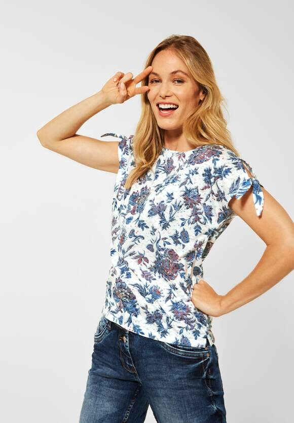 Cecil | T-Shirt mit Blumenmuster | Farbe: burn out off white 33197, 316608