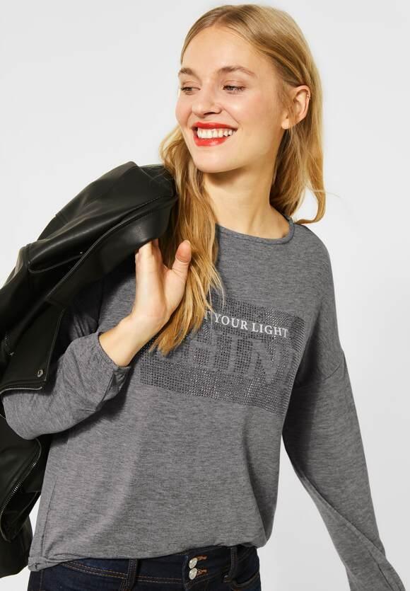 Street One | Shirt mit Strass-Print | Farbe: frost grey melange 31119, 315693