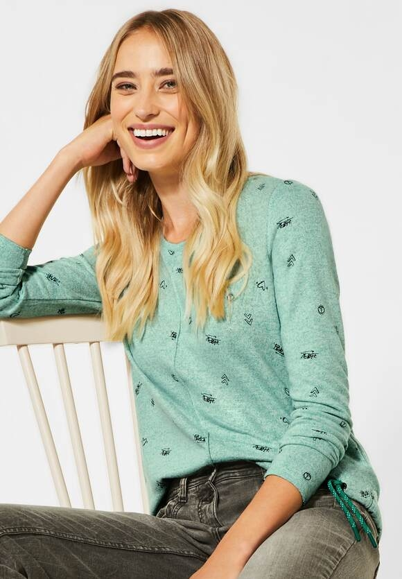 Cecil | Shirt mit Minimal Muster | Farbe: clover green melange 22174, 315463