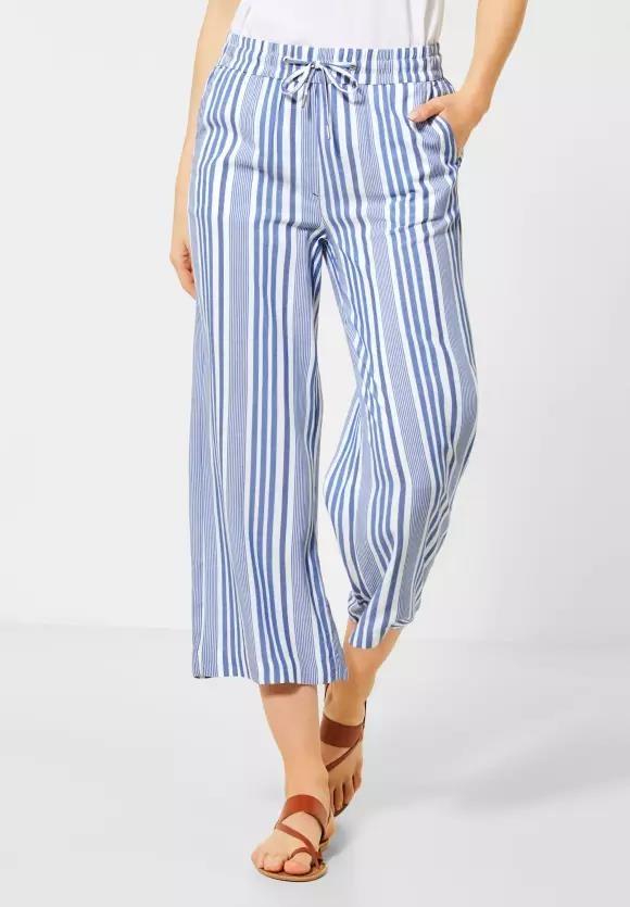 Cecil | Wide Leg Hose mit Streifen | Farbe: santorini blue 22382, 372986
