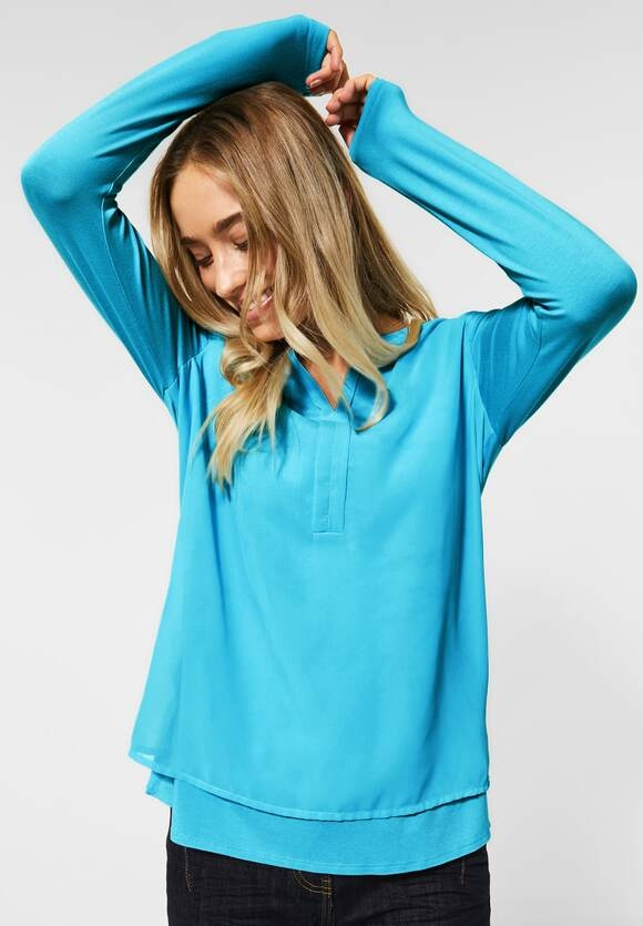 Cecil | Bluse im Lagen-Look | Farbe: sporty sky blue 12593, 342313