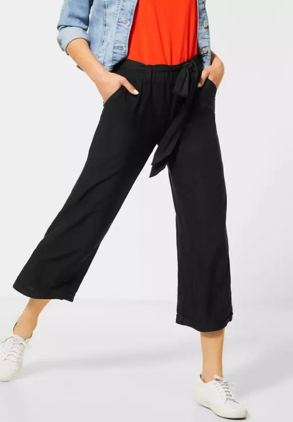 Street One | Unifarbene Wide Leg Hose | Farbe: black 10001, 373040