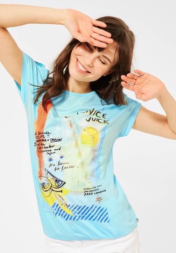Cecil   T-Shirt mit Print   Farbe: water ballet blue 33065, 316345
