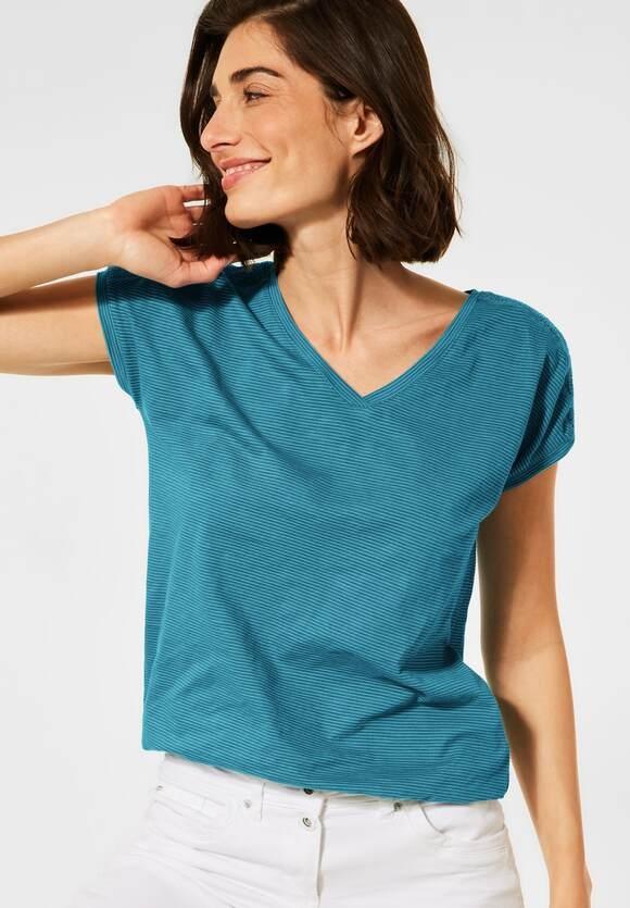 Cecil | T-Shirt mit Smok Details | Farbe: cool lagoon blue 21813, 316206