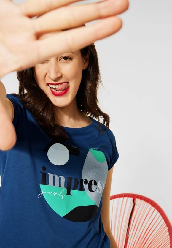 Street One | T-Shirt mit Partprint | Farbe: foggy blue 33106, 316513