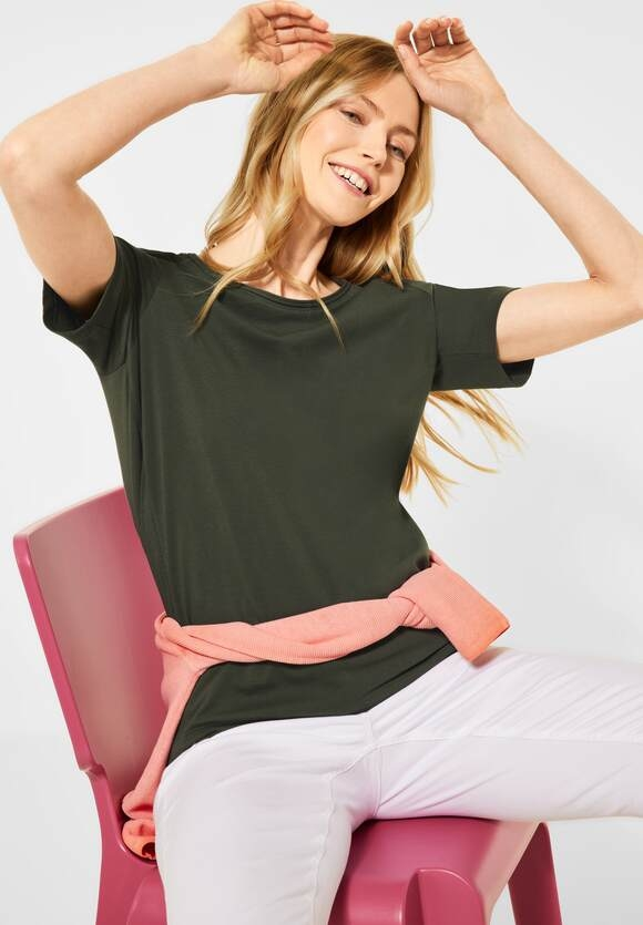 Cecil | Basic T-Shirt in Unifarbe | Farbe: utility olive13036, 316214