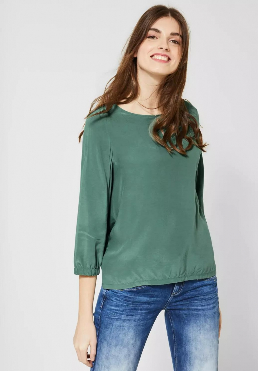Street One | Bluse mit Materialmix | Farbe: thyme jade 12202, 341910