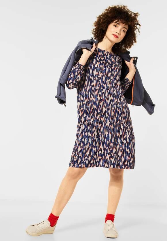 Street One | Kleid mit Volants und Muster | Farbe: dark blue 32552, 142874