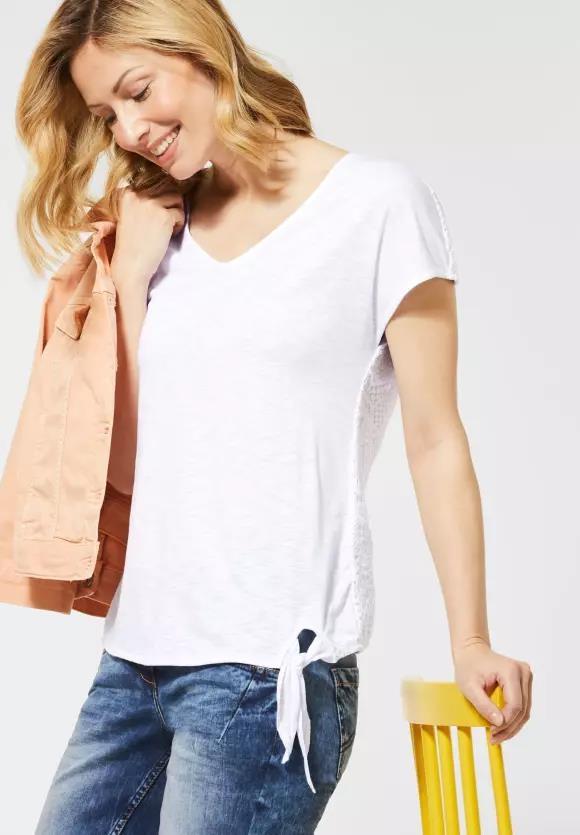 Cecil | T-Shirt mit Spitze hinten | Farbe: white 10000, 314790