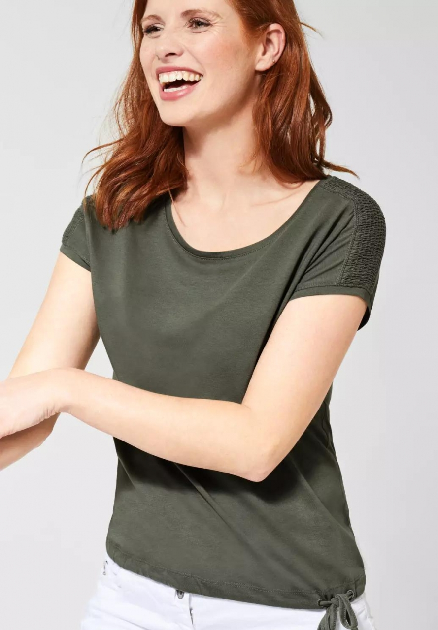Cecil | T-Shirt mit Smok-Detail | Farbe: simply khaki 12173, 314828