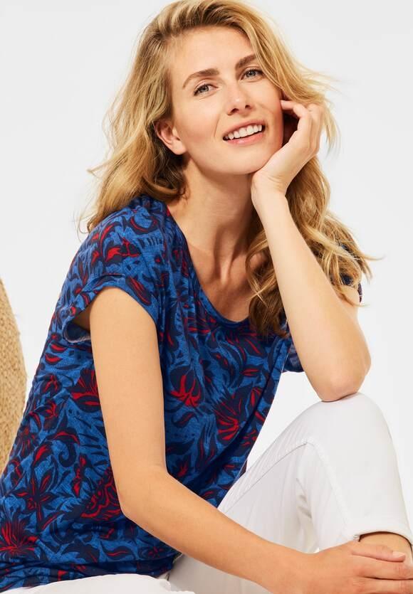 Cecil | T-Shirt mit Blumen Print | Farbe: lake blue 33090, 316645