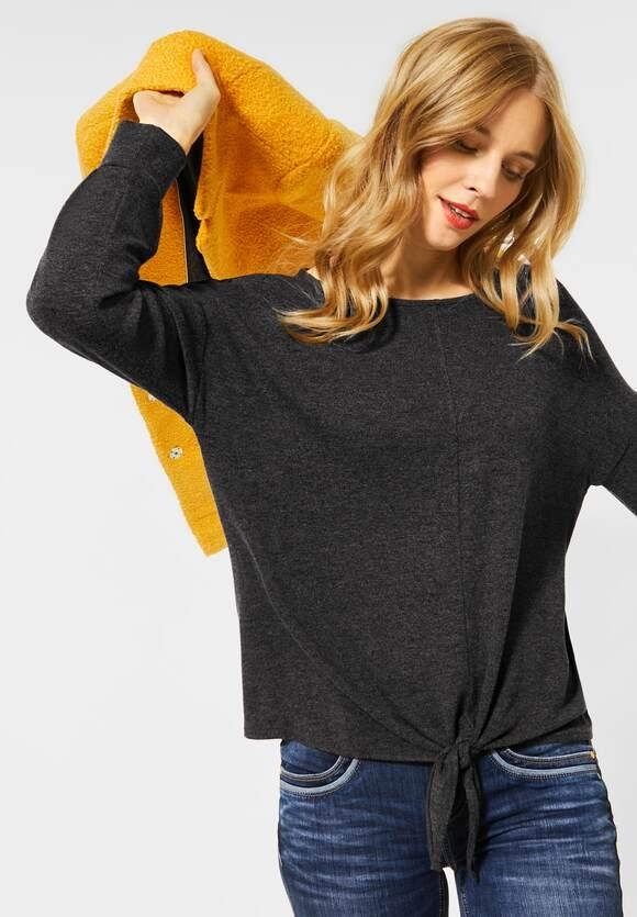 Street One | Softes Shirt mit Knoten | Farbe: coaly anthracite mel 12466, 315621