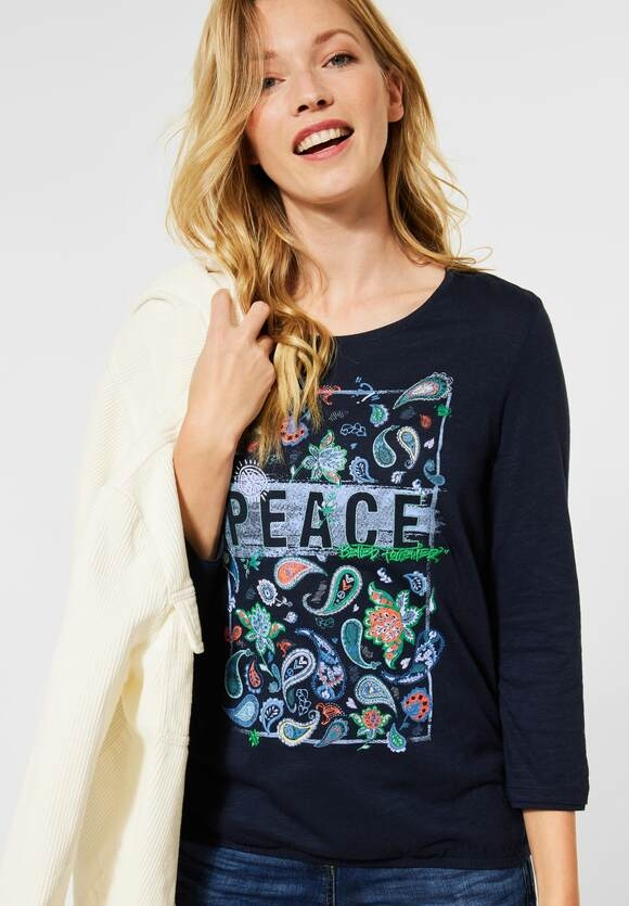 Cecil | Shirt mit Paisley-Partprint | Farbe: deep blue 30128, 315477