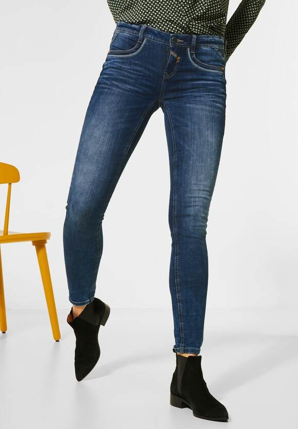 Street One | Sportive Slim Fit Denim | authentic blue washed 12708, 373541