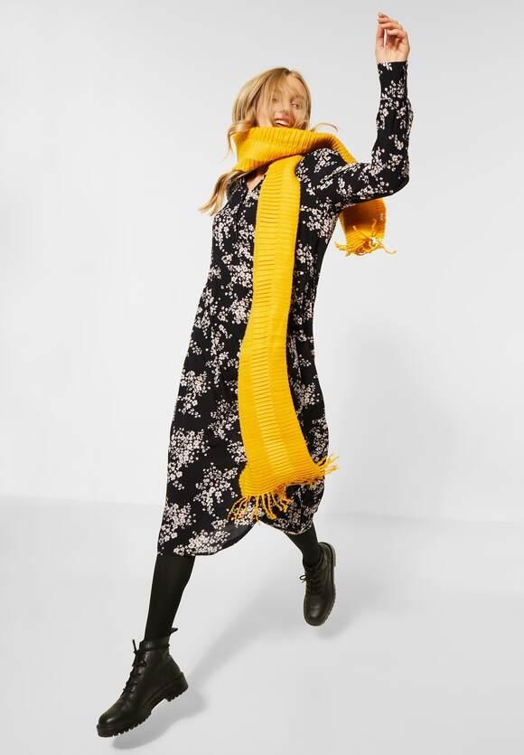 Street One | Midi-Kleid mit Blumen | Farbe: black 30001, 142791