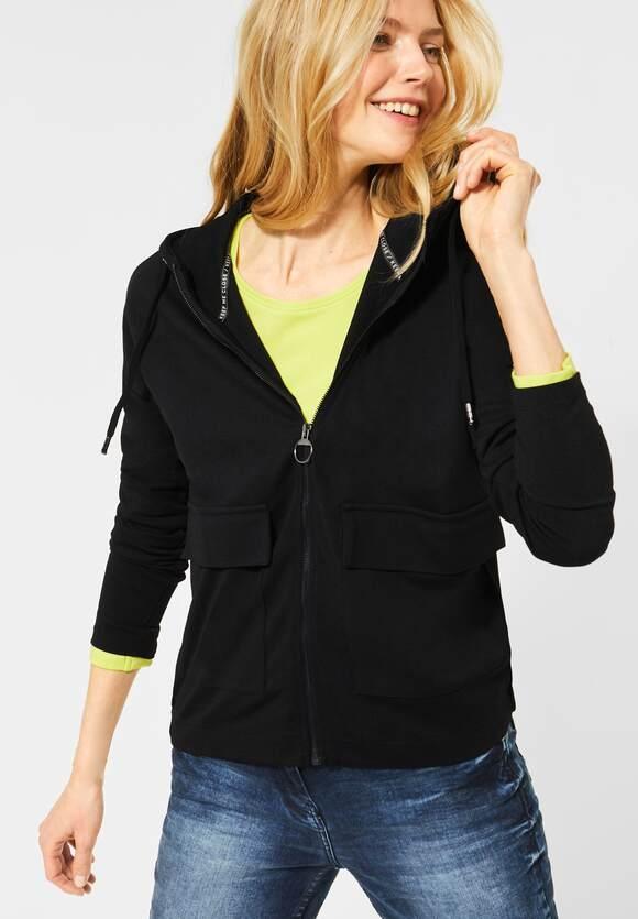 Cecil | T-Shirt Jacke mit Taschen | Farbe: black 10001, 315662