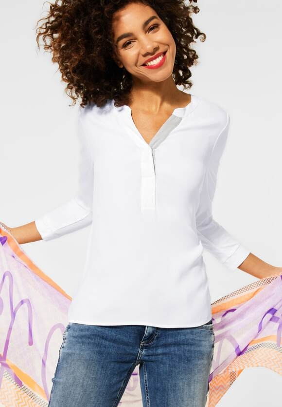 Street One | Unifarbene Materialmix-Bluse | Farbe: white 10000, 316015