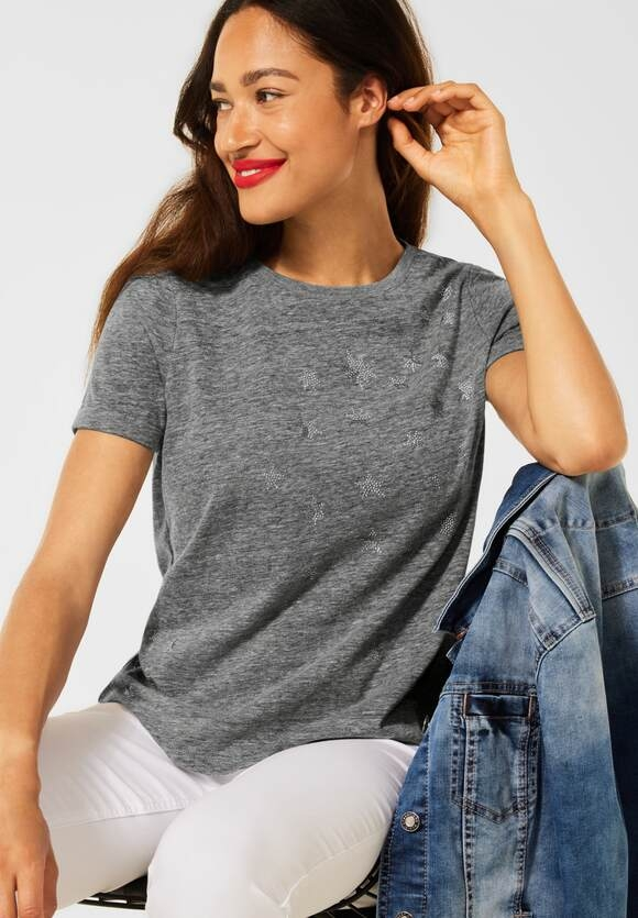 Street One | T-Shirt mit Schimmer Print | Farbe: light carbon grey 33164, 316662