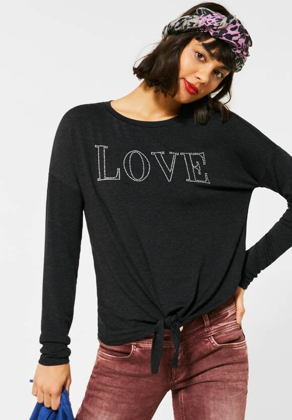 Street One   Shirt mit Steinchen-Deko   Farbe: anthracite melange 21498, 315686