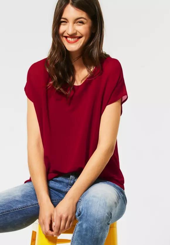 Street One | T-Shirt im Chiffon-Look | Farbe: sweet wine 12363, 315081