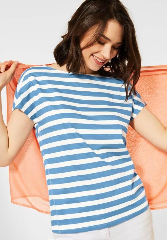 Cecil | T-Shirt mit Streifen Muster | Farbe: blissful blue 23034, 316212