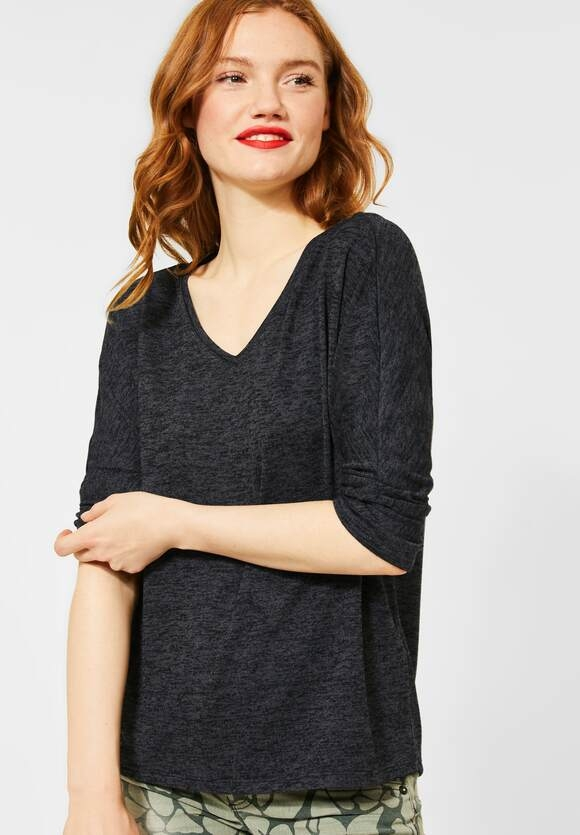 "Street One | Shirt ""Ellen"" in Melange-Optik | Farbe: coaly anthr. 12466, 315375"