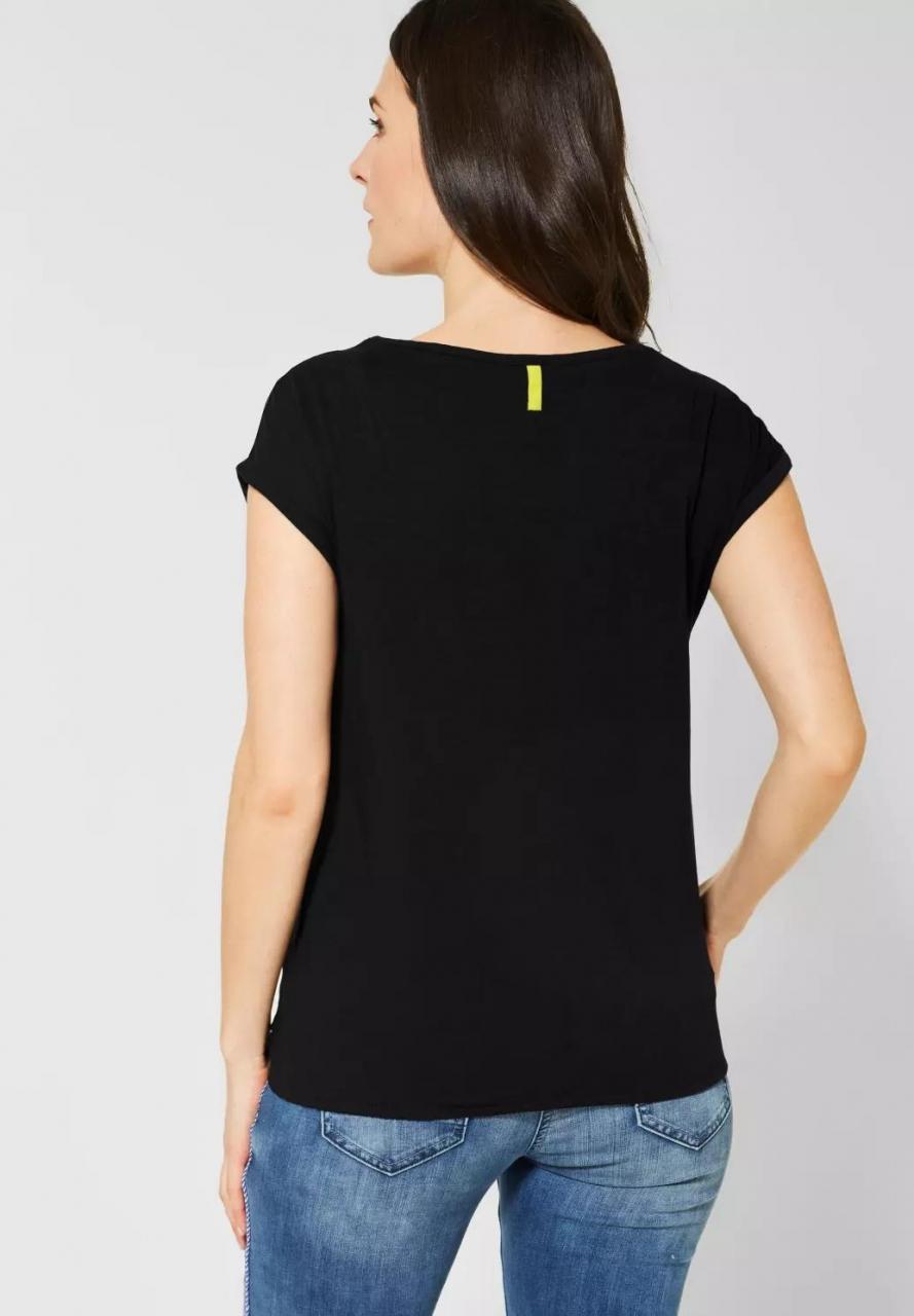 Cecil   T-Shirt in Unifarbe   Farbe: black 10001, 314522