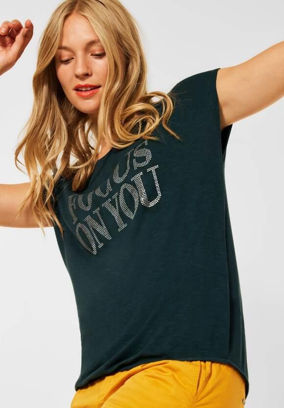 Street One   T-Shirt mit Deko Steinchen   Farbe: endless green 32508, 316790