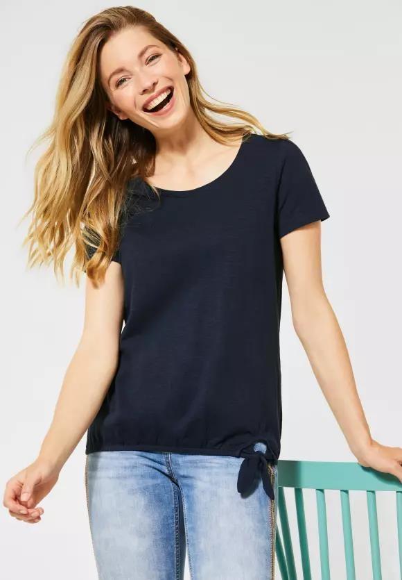 Cecil | T-Shirt mit Knotendetail | Farbe: deep blue 10128, 315135