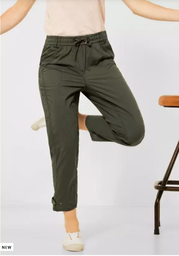 """Cecil   Loose Fit Hose """"Jessy"""" mit Paperbag   Farbe: utility olive 13036, 374117"""