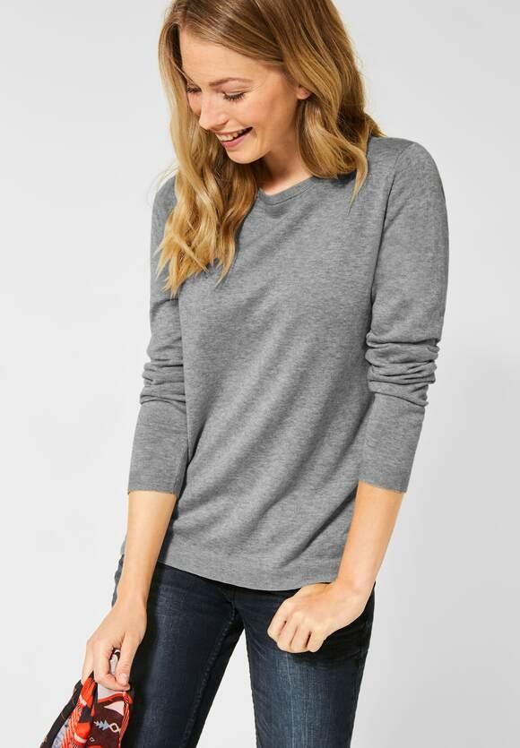 Cecil | Dünner Basic Pullover | Farbe: mineral grey mel 10327, 301262