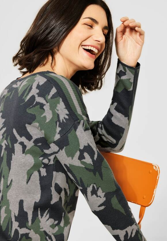 Cecil | Pullover mit Camouflage | Farbe: soft khaki 32646, 301473