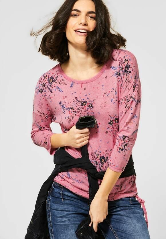 Cecil | Melange-Shirt mit Blumen | Farbe: hibiscus red mel 32852, 315714