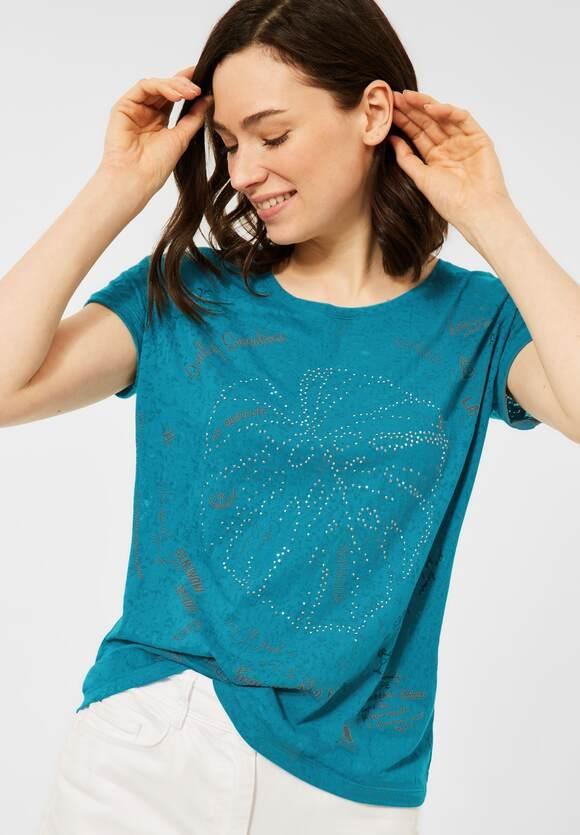 Cecil   T-Shirt mit Burnout-Optik   Farbe: burn out lagoon blue 33194, 316339