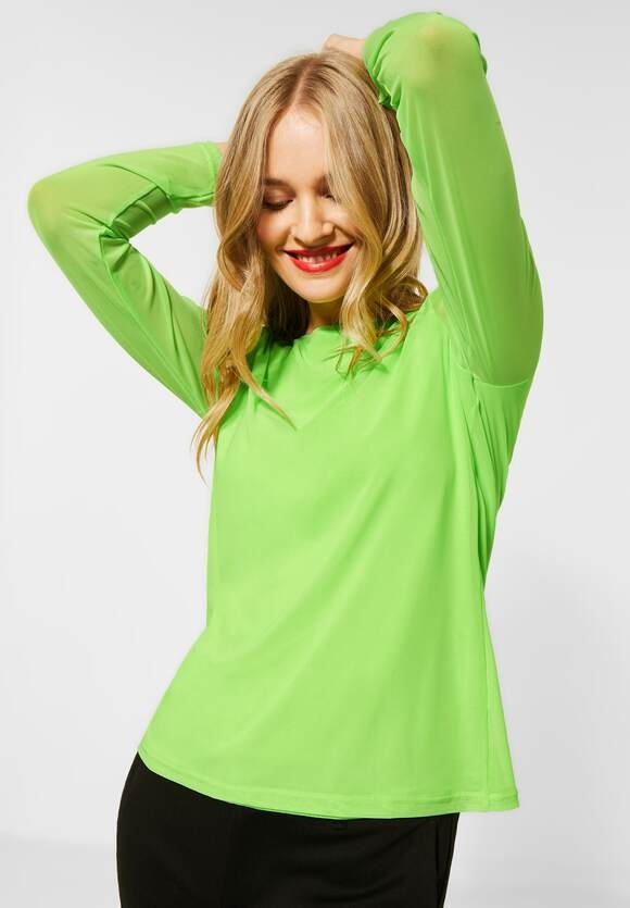 Street One   Dolman-Pullover mit Rippe   Farbe: sunny lime melange 12687, 301421