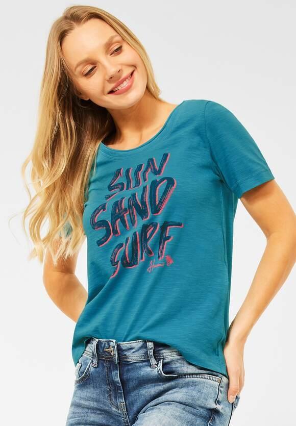 Cecil   T-Shirt mit Wording Print   Farbe: cool lagoon blue 31813, 316483