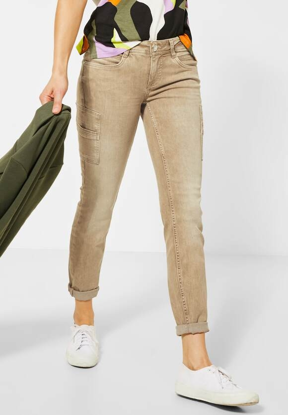 Street One | Colour-Denim im Cargo-Style | Farbe: pure sand 12601, 373378
