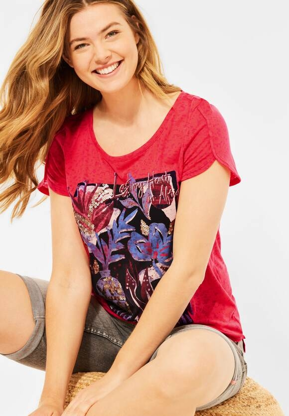 Cecil   T-Shirt in Burnout Optik   Farbe: burn out poppy red 33312, 316641