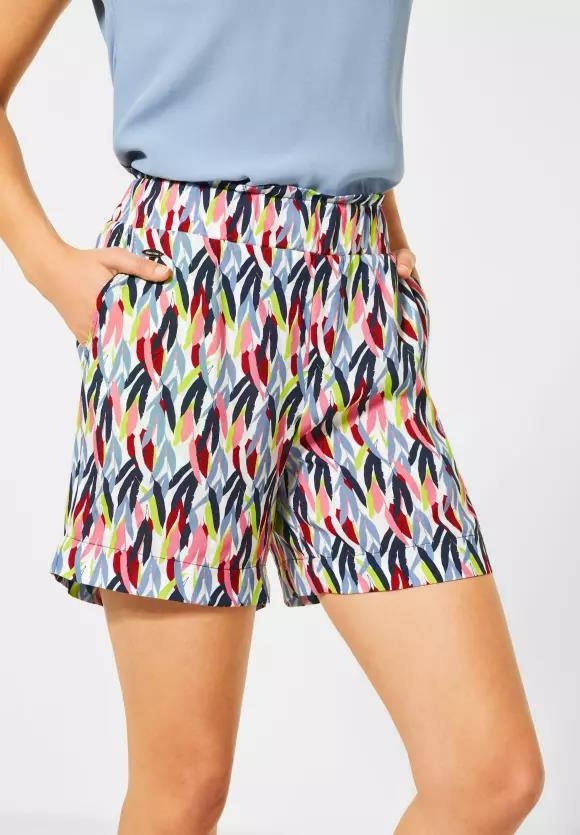 Street One   Paperbag-Shorts mit Muster   Farbe: white 30000, 373277