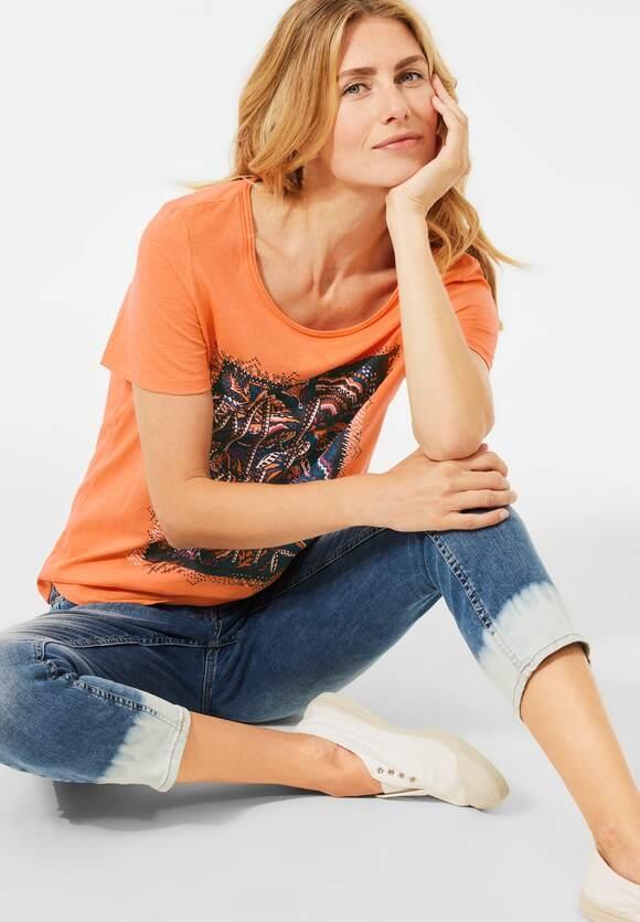 Cecil | T-Shirt mit Partprint | Farbe: sunset orange 32977, 316182