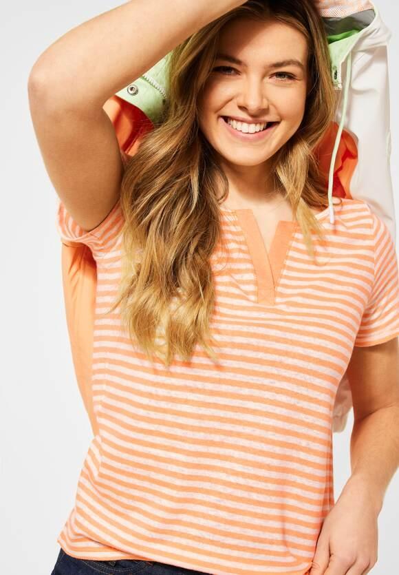 Cecil | T-Shirt mit Streifen Muster | Farbe: soft cantaloupe orange 22736,315898