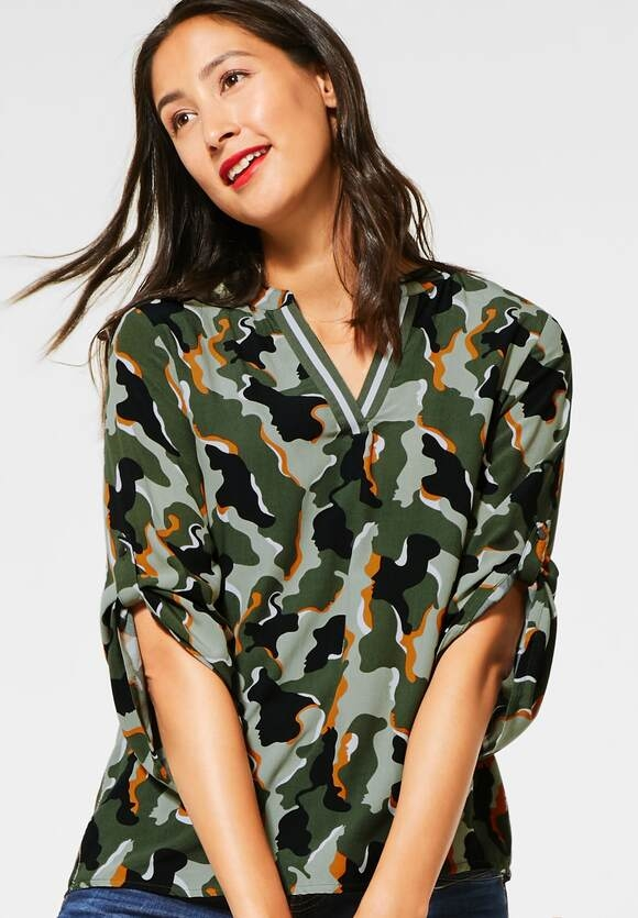 Street One | Bluse mit Camouflage | Farbe: shady olive 32440, 342170