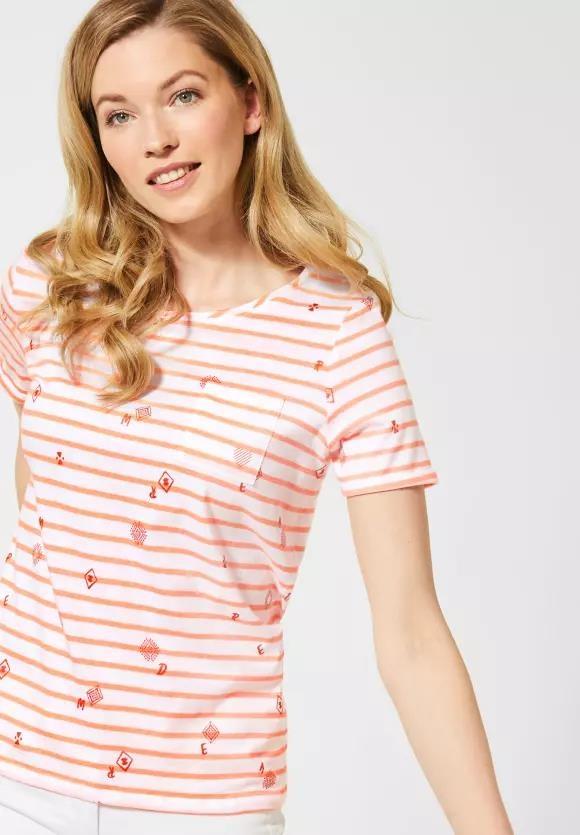 Cecil | T-Shirt mit Schimmer-Print | Farbe: neon cantaloupe orange 32297, 314968