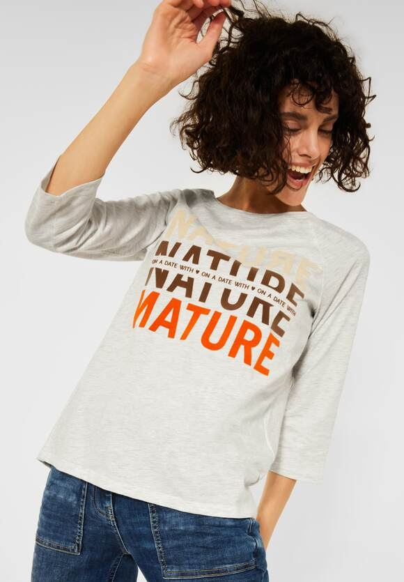 CECIL   Raglan Shirt mit Fotoprint   Farbe: off white melange 31111, 316933