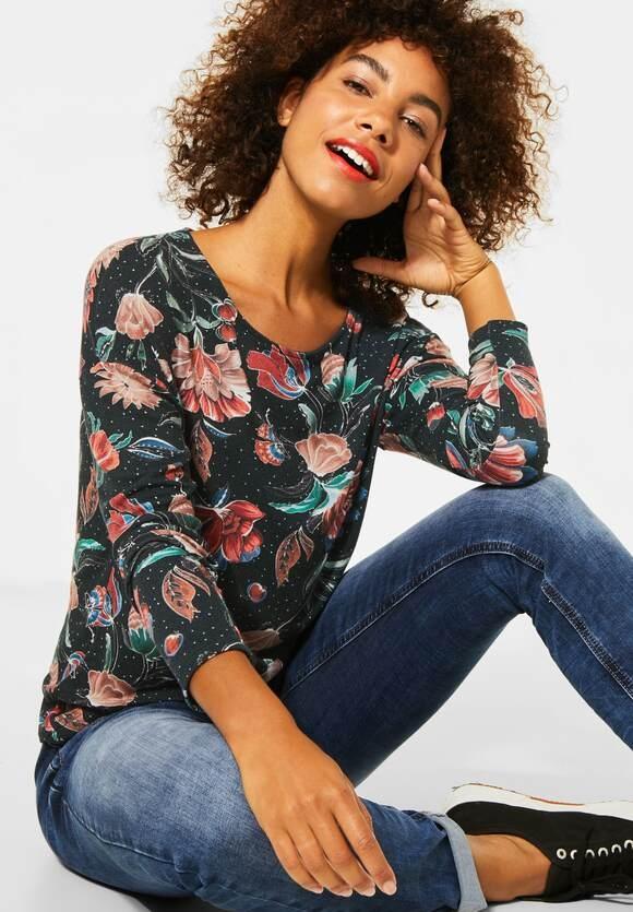 Street One   Weiches Shirt mit Blumen   Farbe: endless green 32508, 315398
